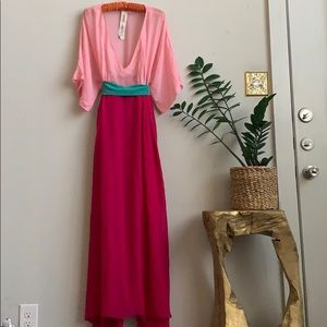 🦋 Vintage Kenzo Silk Tie Caftan Maxi Dress